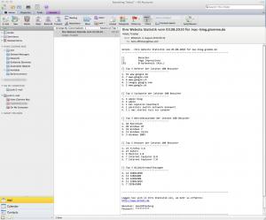 Startbildschirm von Outlook